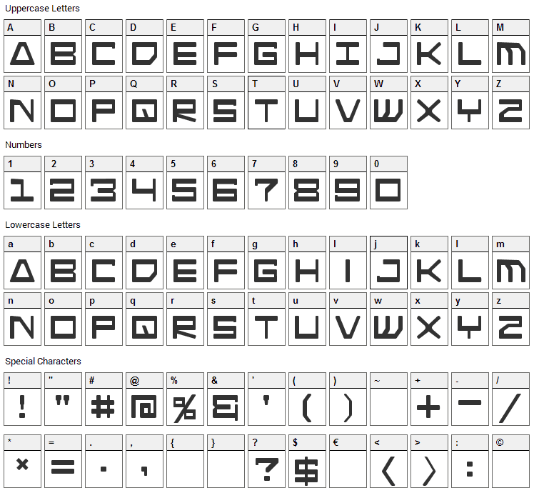 Android Nation Font Character Map