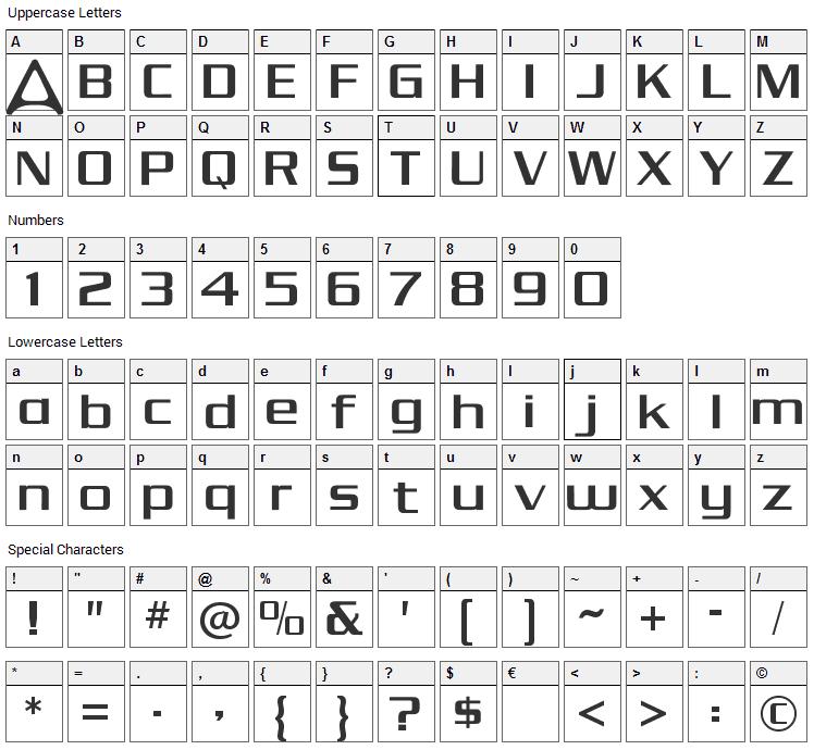 Andromeda Font Character Map