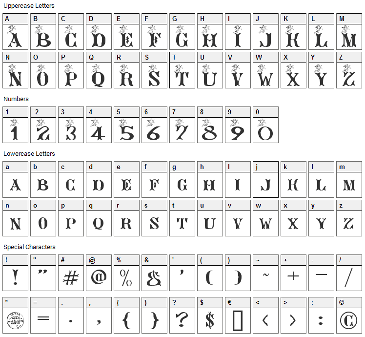 Ange Gardien Font Character Map