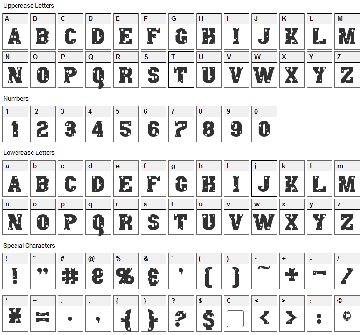Angel Arms Font Character Map