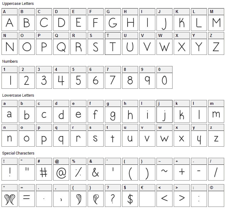 Angel Toes Font Character Map