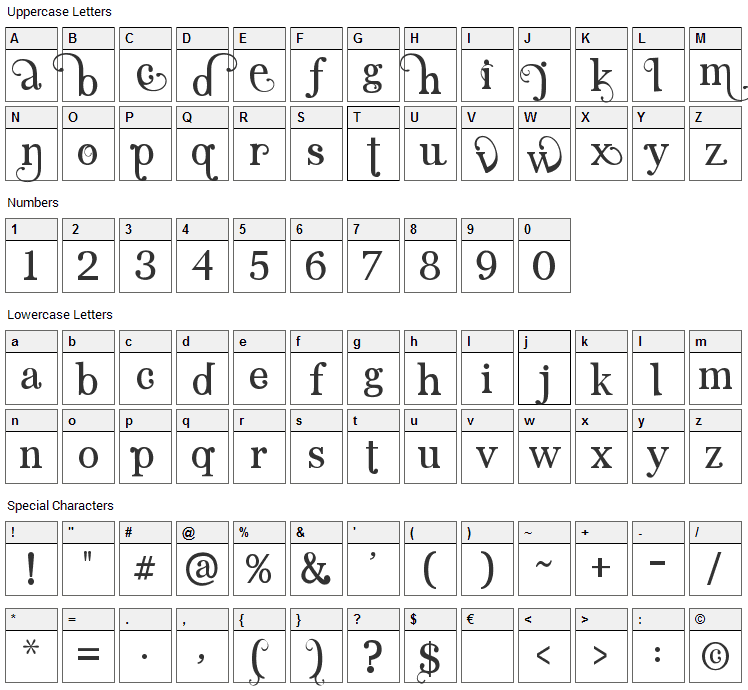 Angelic Serif Font Character Map