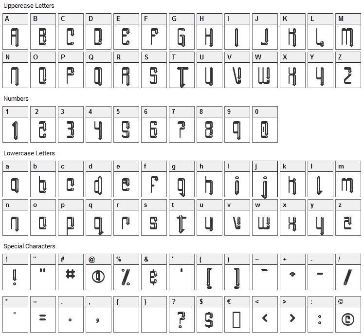 Angie Impressing Font Character Map