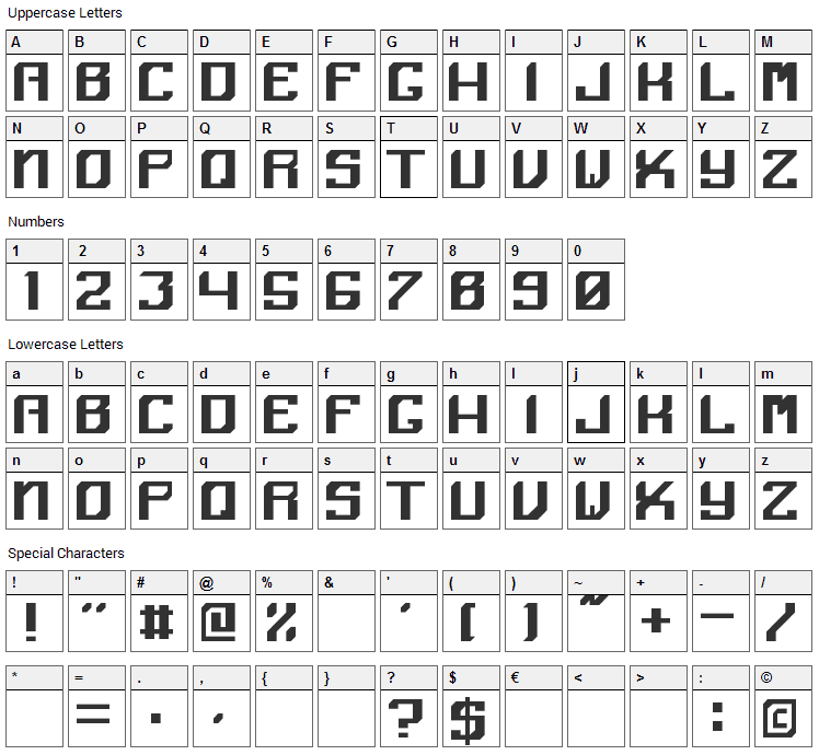 Angular Font Character Map