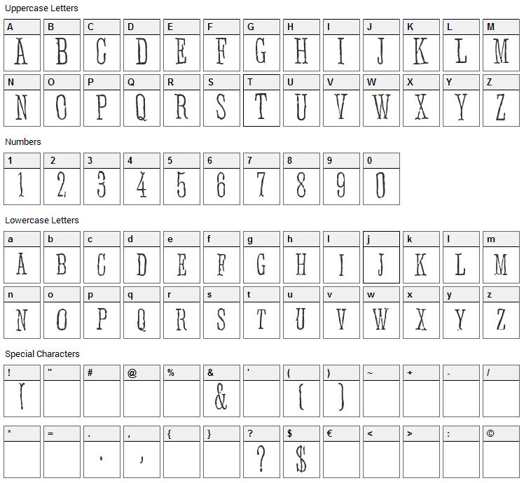 Anhedonia Font Character Map
