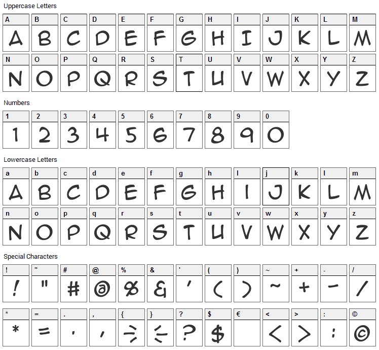 Anime Ace Font Character Map