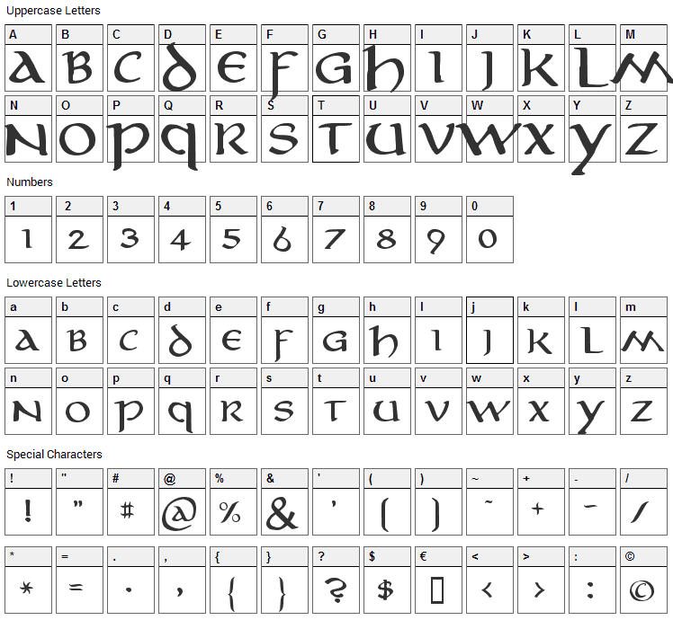 Aniron Font Character Map