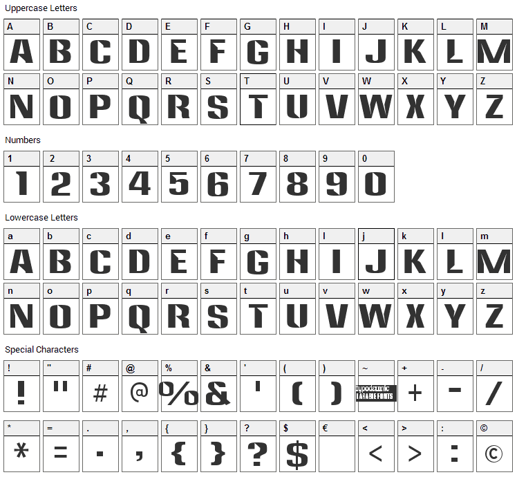 Anklepants Font Character Map