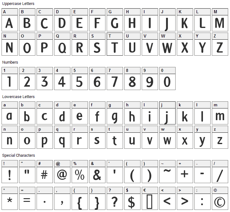 Anna Font Character Map