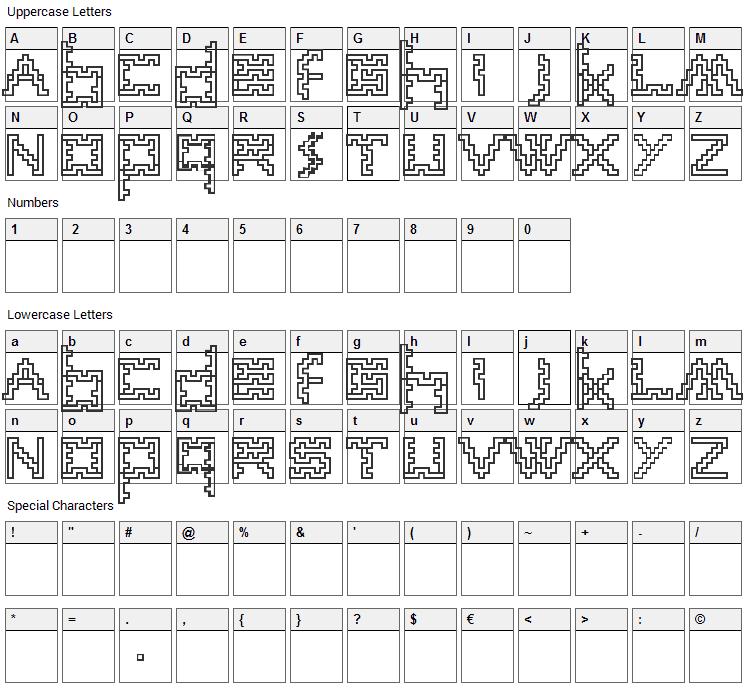 Anne sans Font Character Map