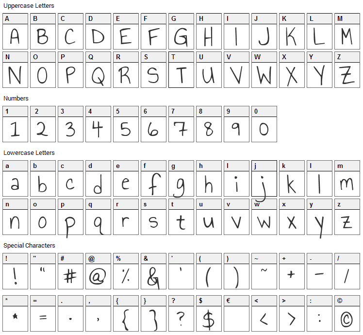 Annie Use Your Telescope Font Character Map