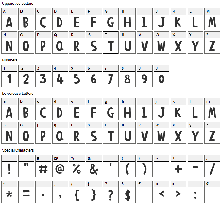 Anonim Round Font Character Map