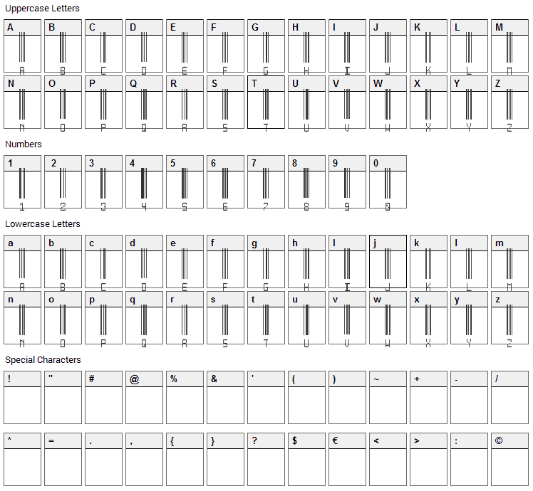 Another Barcode Font Character Map