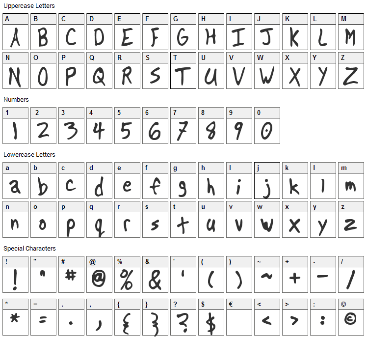Another Font Character Map