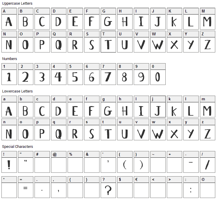 Antelope H Font Character Map