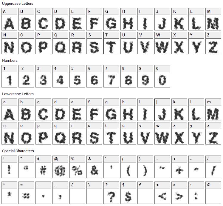 Antfarm Font Character Map