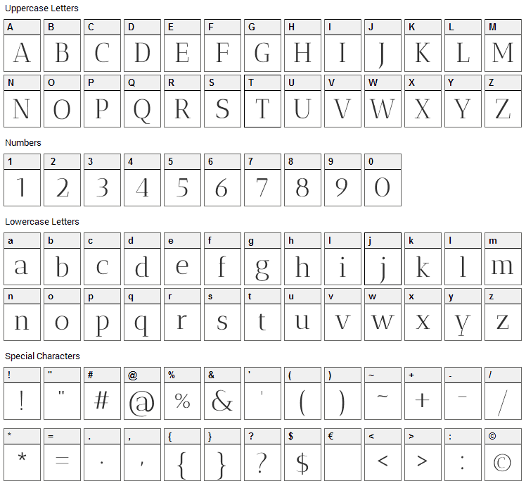 Antic Didone Font Character Map