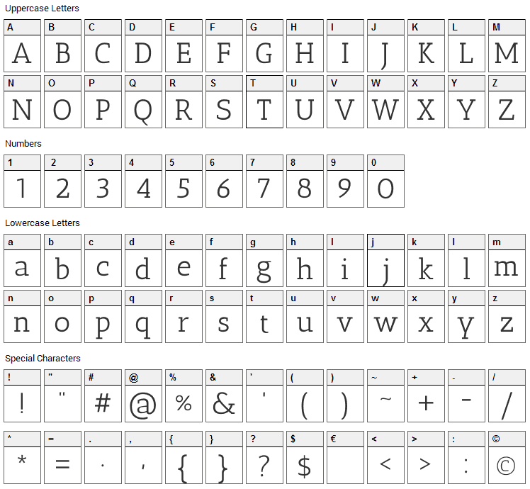 Antic Slab Font Character Map