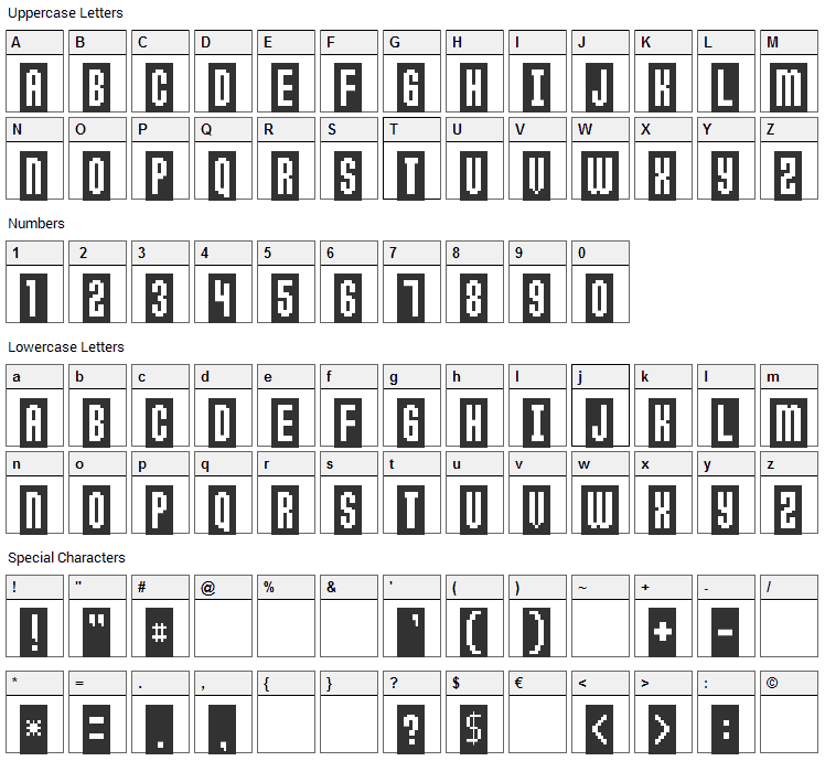 Anticlimax Font Character Map