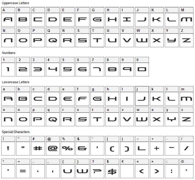 Antietam Font Character Map