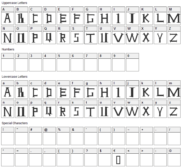 Antioch Font Character Map