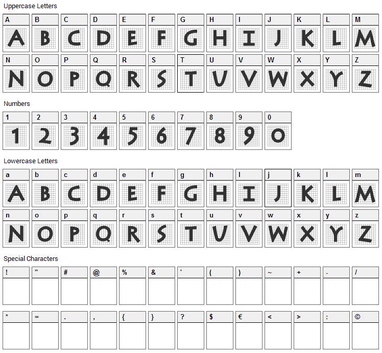 Antiqua In Grid Font Character Map