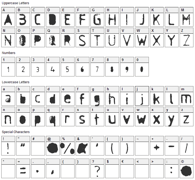 Antisocial Font Character Map