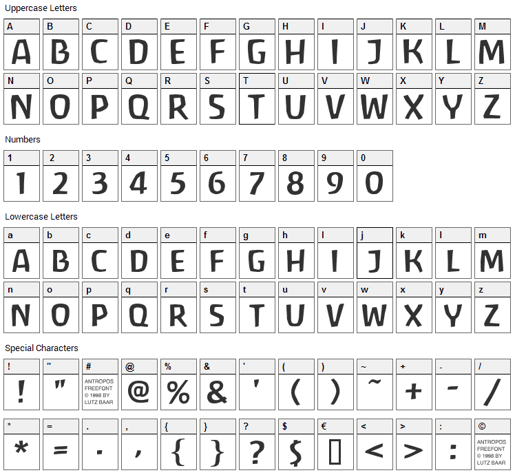 Antropos Font Character Map