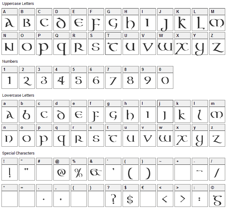 Aon Cari Celtic Font Character Map