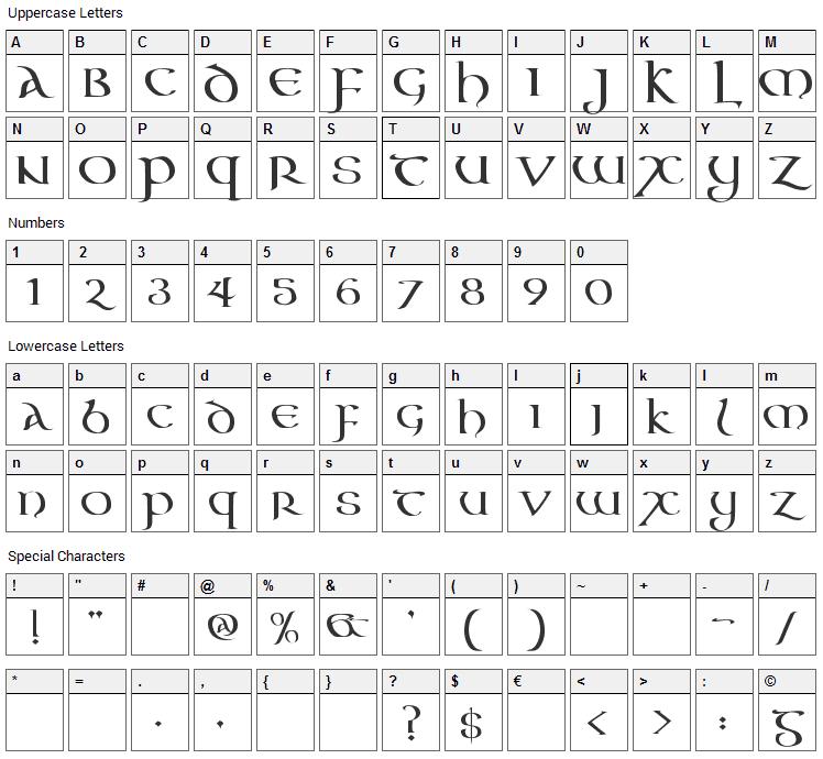 Aon Cari Celtic Font Character Map