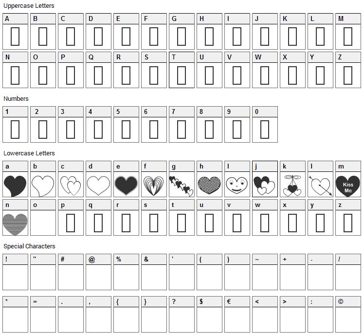 AP Justhearts Font Character Map
