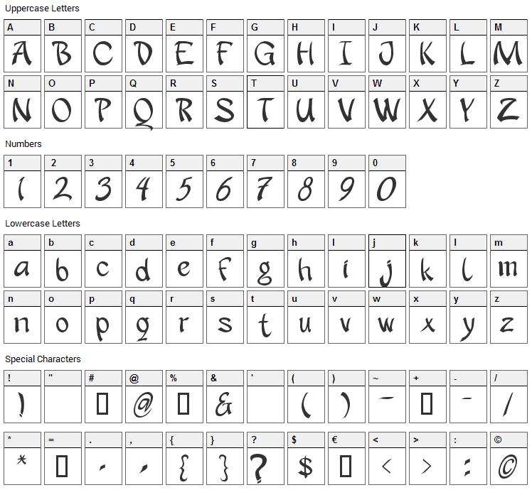 Apantasia Font Character Map