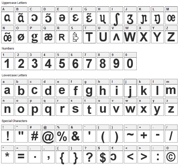 Apicar Font Character Map