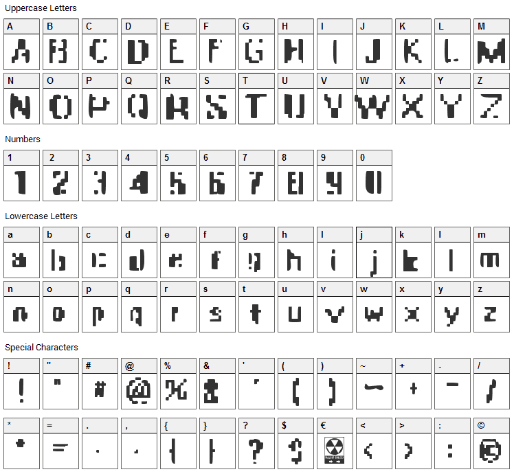 Apocalypse Fax Font Character Map
