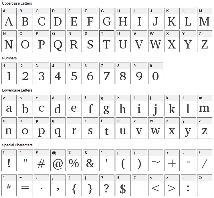Apparatus Font Character Map