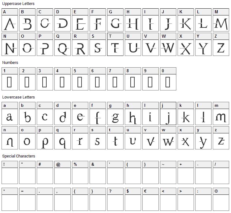 Appendix Font Character Map
