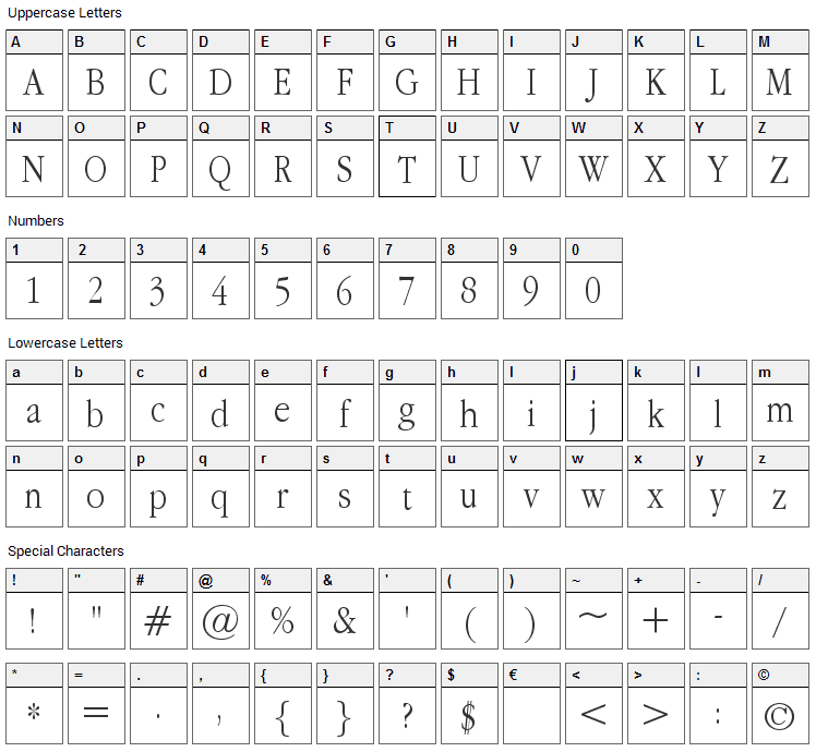 Apple Garamond Font Character Map