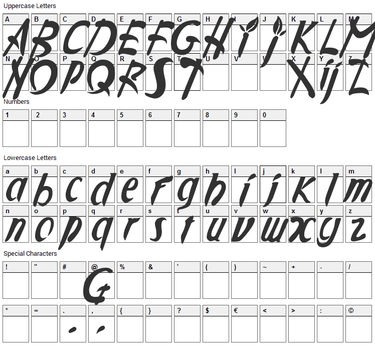 Applejuiced Font Character Map
