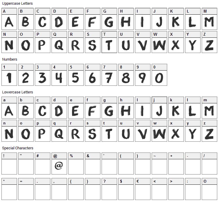 appo paint Font Character Map