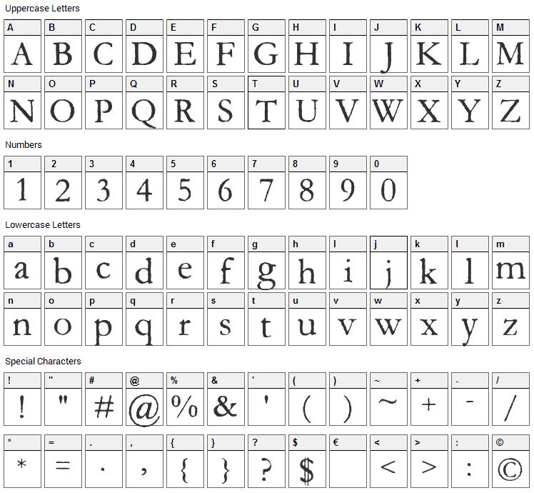 Aquifer Font Character Map