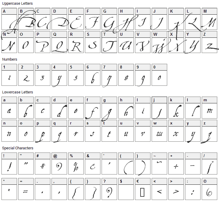 Aquiline Font Character Map