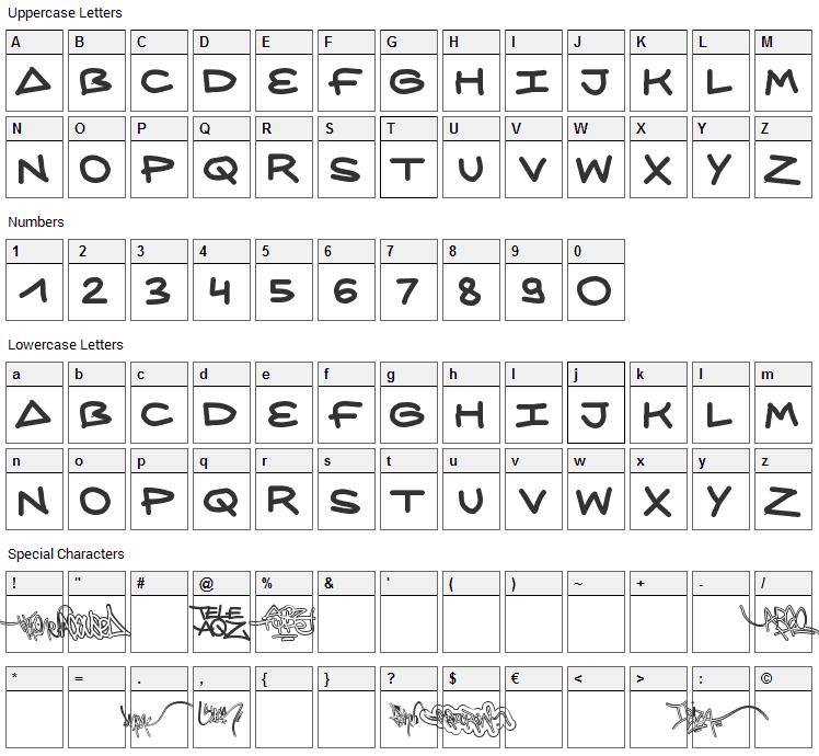 AQZ Crew Font Character Map