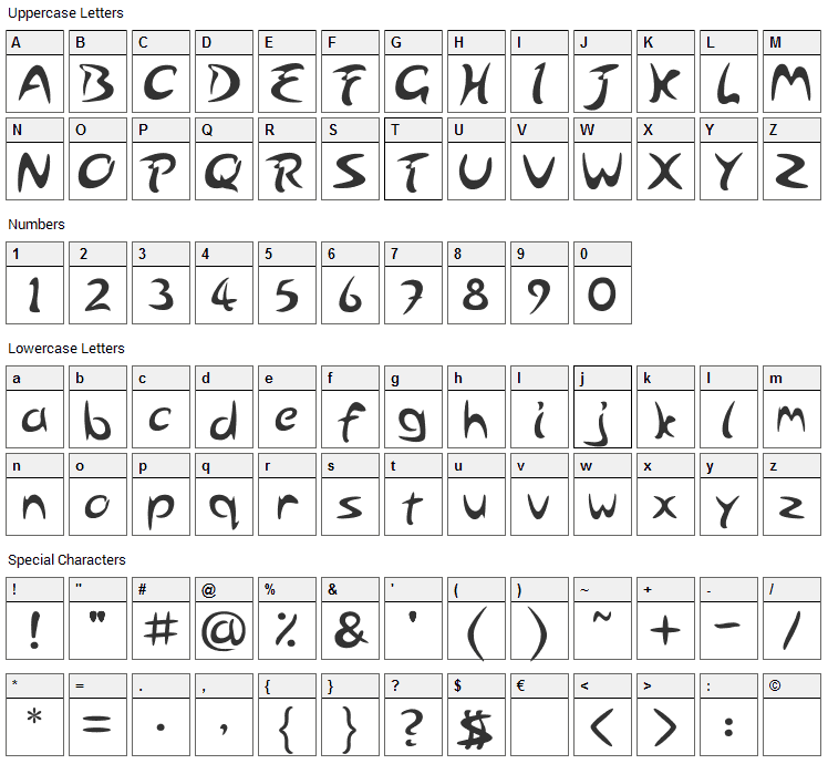 Arabolical Font Character Map