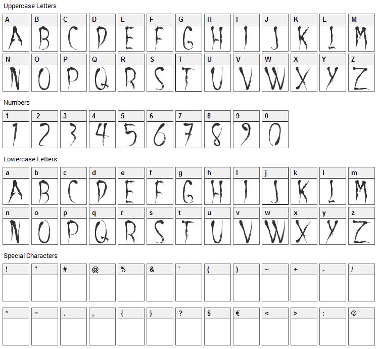 Aracnoide Font Character Map