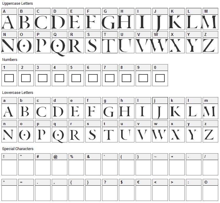 Aranea Font Character Map