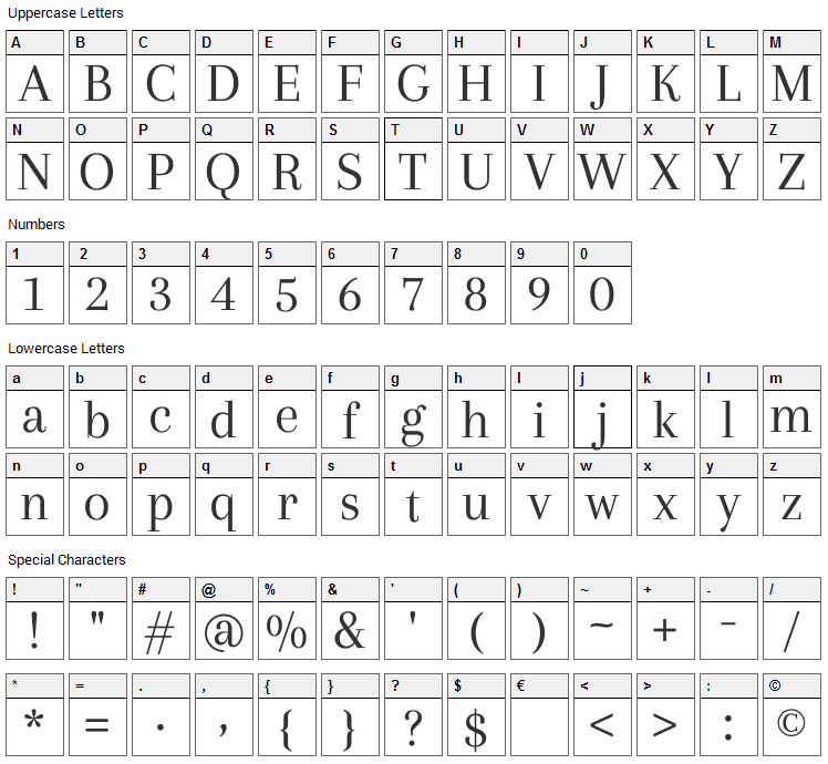 Arapey Font Character Map