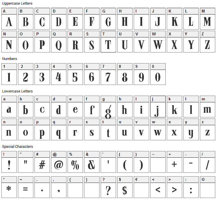 ARB 08 Extreme Roman AUG-32 CAS Font Character Map