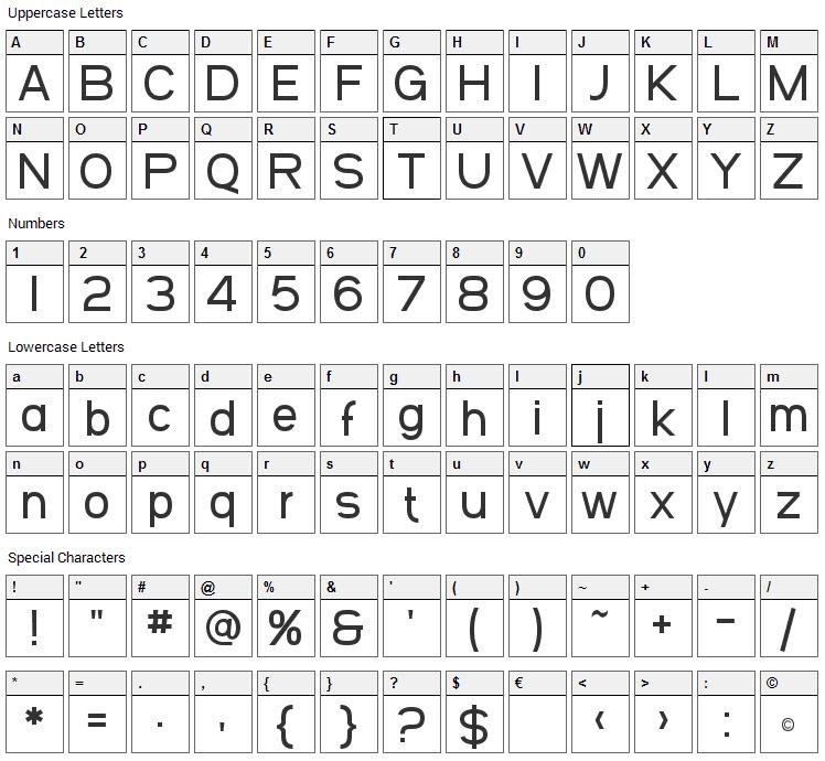 Arbocrest Font Character Map