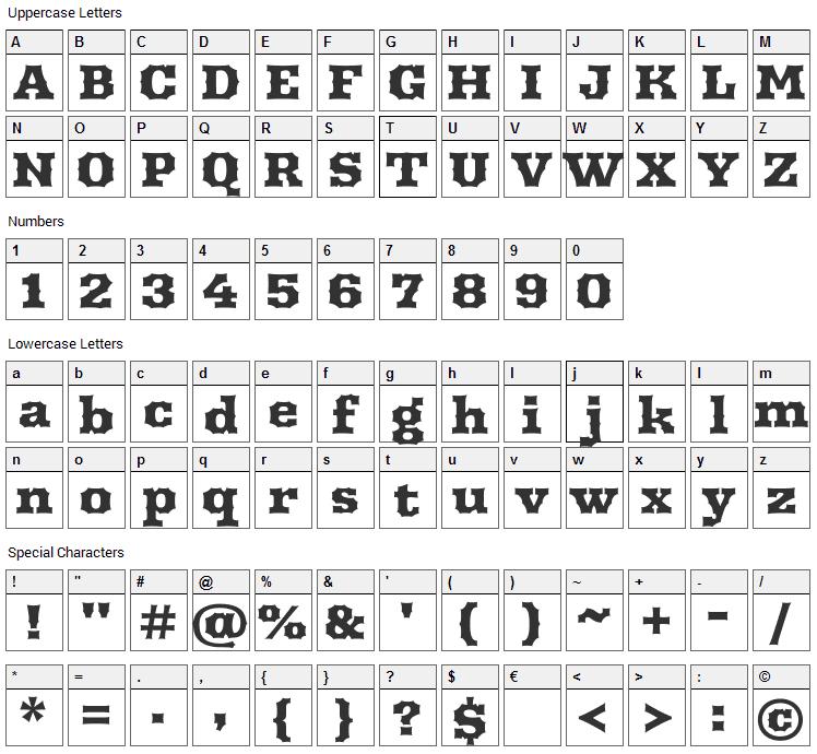 Arbutus Font Character Map