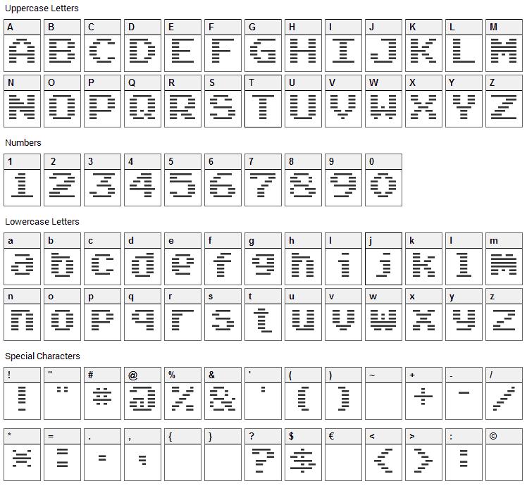 Arcade Classic Font Character Map